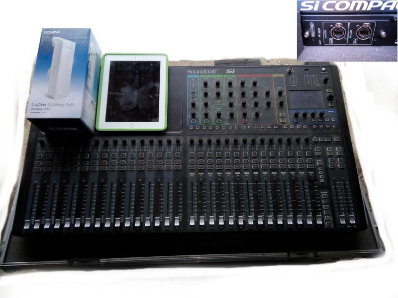 Soundcraft Si Compact 32 v case + Tablet a WiFi anténa
