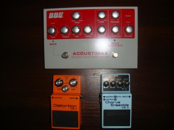 BBE ACOUSTICMAX,BOSS-CHORUS CE -5,BOOSS DISTORTION DS-1