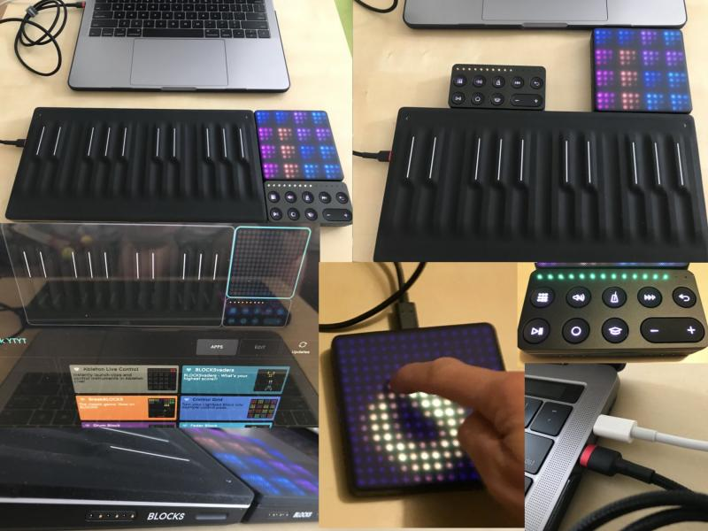 Sada ROLI Blocks MIDI kontrolerů (Seabord, Lightpad, Loop, Equator Player, Ableton Lite, Waveform)